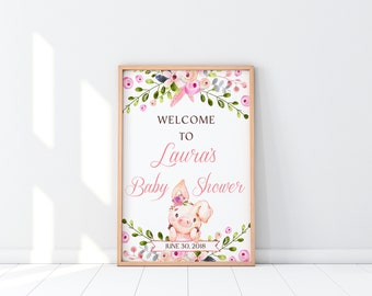 Pink Baby Shower Welcome Sign Girl Pig Baby Shower Signage Green Floral Baby Shower Baby Girl Shower Printable Welcome Sign