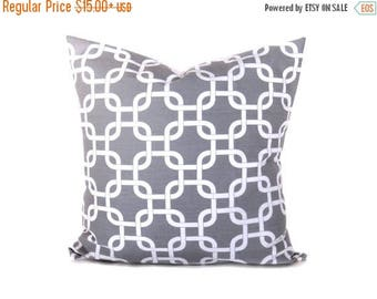 15% Off Sale Gray Pillow. Gray Pillow Cover.Grey Pillow.ChainPillows.Decorator Pillow Covers.Light Gray Pillow.Print both sides.