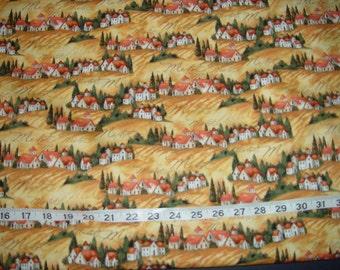 Merlot Italian Italy Wine Landscape Fabric - almost 1 yard
