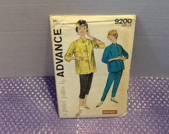 Vintage Advance 1950s uncut pattern 9200 size 14 for misses pajamas in two lengths with an oriental touch to them