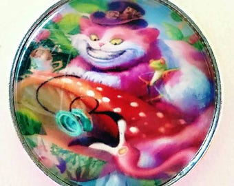 Cheshire Cat Necklace Alice in Wonderland Art Glass Pendant Jewelry Unique Gift For Her Steam Punk Fantasy Art Flamingo Colorful Jewelry
