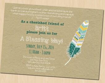 Baby Blessing Invitation, Blessing Way Invitation, Custom Printable Baby Blessing Invite