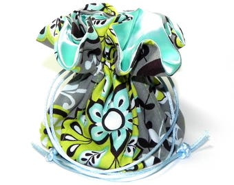 Jewelry Drawstring Travel Bag - Organizer bridal Pouch - Floral in Lime green, Grey and Turquoise  fabric with aqua satin