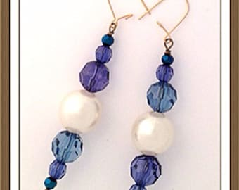 Handmade MWL blue and large white pearl beaded earrings. 0100