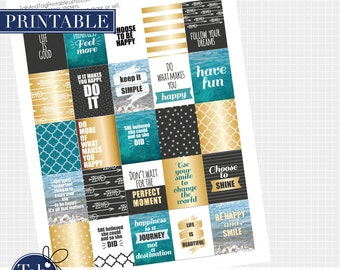 25 HAPPINESS printable QUOTE planner stickers in black, gold and aqua blue for Erin Condren, Inkwell Press, Plum Paper planners.