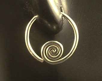 Small Silver Sleeper Hoops / Sterling Hoop Earrings with a Swirl / Argentium Seamless Sports Catchless Men Ladies Children