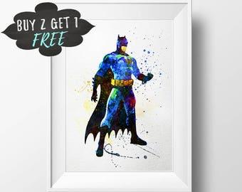 Batman Art Print Poster, Superhero Batman Wall Art Nursery Decor Printable  Watercolor Instant Download,