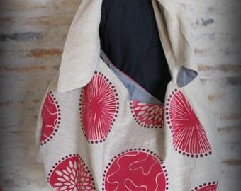 Pop Pink linen tote bag