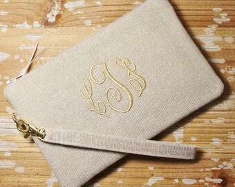 Monogrammed Metallic Linen Wristlet - Gold, Silver - Iphone/Cell Phone Wristlet - Bridesmaid Clutch- Wedding