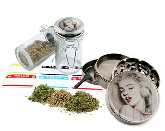 "Marilyn Monroe - 2.5"" Zinc Alloy Grinder & 75ml Locking Top Glass Jar Combo Gift Set Item # 50G012516-13"
