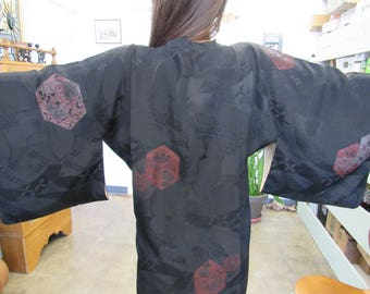 Vintage Black and Red Silk Kimono