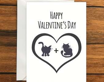 Happy Valentine's Day Cat blank card and envelope (A6)