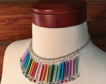 Necklace made from aluminum knitting needles