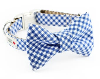 Royal Blue Gingham Bowtie Dog Collar