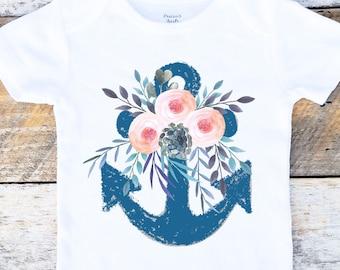 Beach Baby Onesies®, Nautical Onesie, Anchor Onesie, Beach Onesie, Floral Onesie, Shabby Chic, Nautical Baby, Toddler Shirt, Seashore, Ocean
