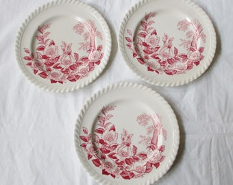 "3 Windsor Ware Johnson Bros. England Red Apple Blossom 6.25"" Bread Butter Plates (c. 1950s)"