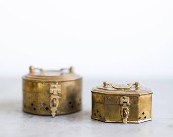 vintage brass cricket boxes