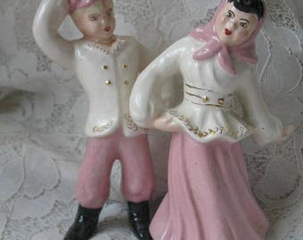 Vintage Figurines ~ 1960s ~ Mid-Century ~ Dancing Boy & Girl