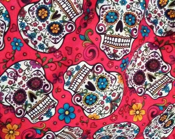 Choose from 3 Different Red or Black Background Sugar Skulls, Red Roses with  Black and Gray Background Cotton Quilting Fabric by the Yard