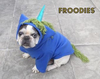 French Bulldog Boston Terrier Pug Dog Froodies Hoodies Halloween Costume Cosplay Blue Unicorn Pony Horse Fleece Jacket Sweatshirt Coat