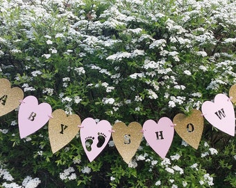 Heart pale pink and gold glitter baby shower bunting. Baby footprint baby shower banner. Pink baby shower decor