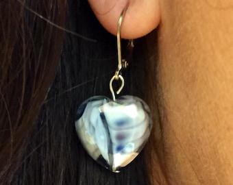 Fluted Glass Heart Earrings