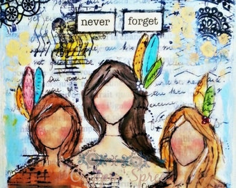Canvas Print Mixed media art. Anti-abuse, First Nations Women. Stop violence against women.