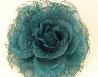 Vintage Turquoise Rose with lace and tulle Pinless Posie