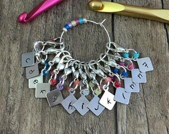 Crochet Hook Size Reminder, Removable Stitch Markers, Letter Markers, Alpha Stitch Markers