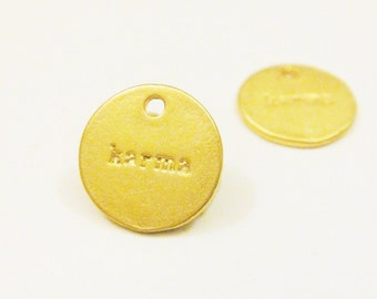 2pcs Vermeil,18k gold over 925 sterling silver Karma Gold Circle Disc Charm - 11mm, karma stamped gold dipped 925 silver, karma
