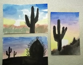 Three Watercolor Miniature Cactus Paintings Framed