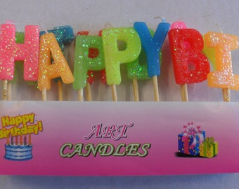 "13 mini ""Happy Birthday"" candles in wax color"