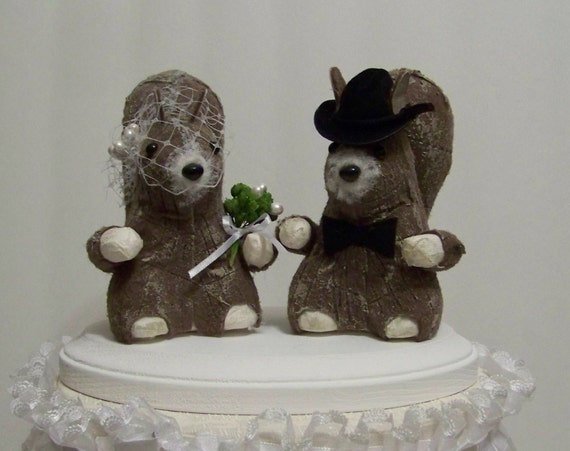 Wedding Cake Topper With Squirrels Bride And Groom Wedding