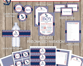 Ahoy its a boy nautical baby shower invitation package, chevron invite, red, navy, chevron, printable(PARTIAL INSTANT DOWNLOAD) - nautical1