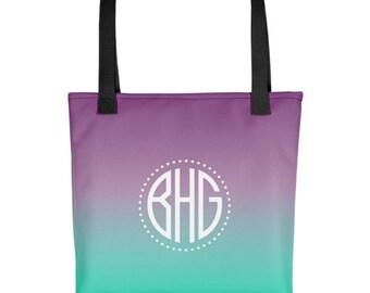 Ombre Tote Bag, Personalized Tote Bag, Personalized Bag, Ombre Bag, Purple Tote Bag, Printed Tote Bag, Custom Name Tote Bag,