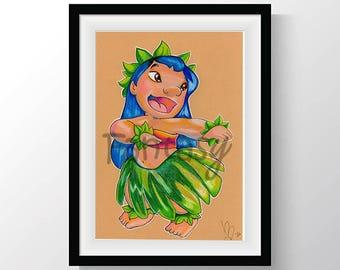 Drawing of Lilo from Lilo and Stitch - Disegno di Lilo da Lilo and Stitch