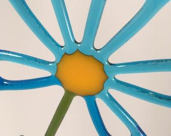 Turquoise Fused glass Flower suncatcher