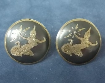 Vintage Antique Pair .925 Sterling Silver Siam Earrings, 10.15g #E925
