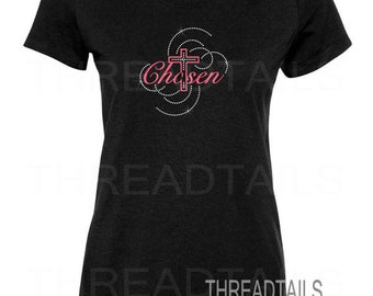 Christian t-shirt. Ladies Large Black Tee.  Chosen with Cross.  Glitter Rhinestone Inspirational Top, Christian Gift idea.