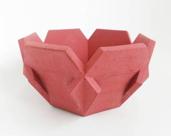 This is Jane, a beautiful small bright red concrete bowl