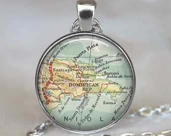 Dominican Republic map necklace, Dominican Republic necklace DR map jewelry adoption jewelry map pendant key chain key ring key fob