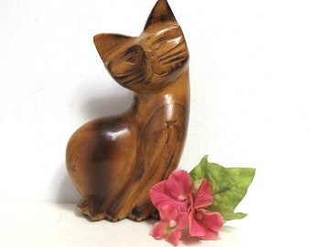 Teak Wood Cat Sculpture/ Retro Hand Carved Figurine/ Boho Home Decor
