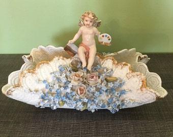 Porcelain Bisque Schierholz & Sohn Plaue. Embossed flowers and Cherub c.1865 - 1899 decor basket