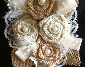Custom Burlap 4 Rose Corsage - Mixed color