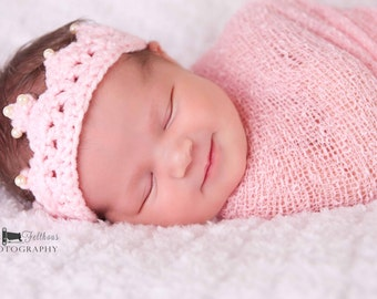 Newborn crochet princess crown, Crochet baby crown, First birthday princess crown, Crochet crown, Crochet photo prop, preemie girl