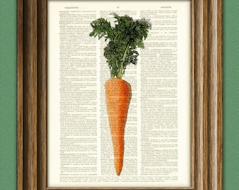 Orange CARROT vegetable beautifully upcycled dictionary page book art print