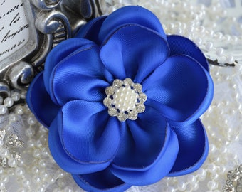 "Royal Blue Satin Ribbon Flowers, 3"" Satin Fabric Flowers, Royal Blue Satin Flower, Ribbon Flowers, Pearl Crystal Flowers, 37 Colors"