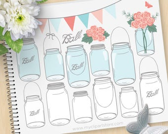 Masson Jars Clipart, Shabby Chic Roses, Mother's Day Flowers, Farmhouse Chic, Glass jars, Commercial Use, Vector clip art, SVG Cut Files