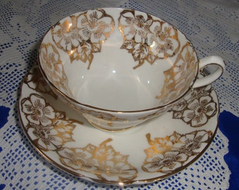 Stanley China Tea Cup And Saucer Hand Painted, GOLDEN ROSES