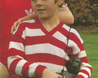 Vintage Boy's Striped V Neck/ Football Sweater Knitting PDF Pattern